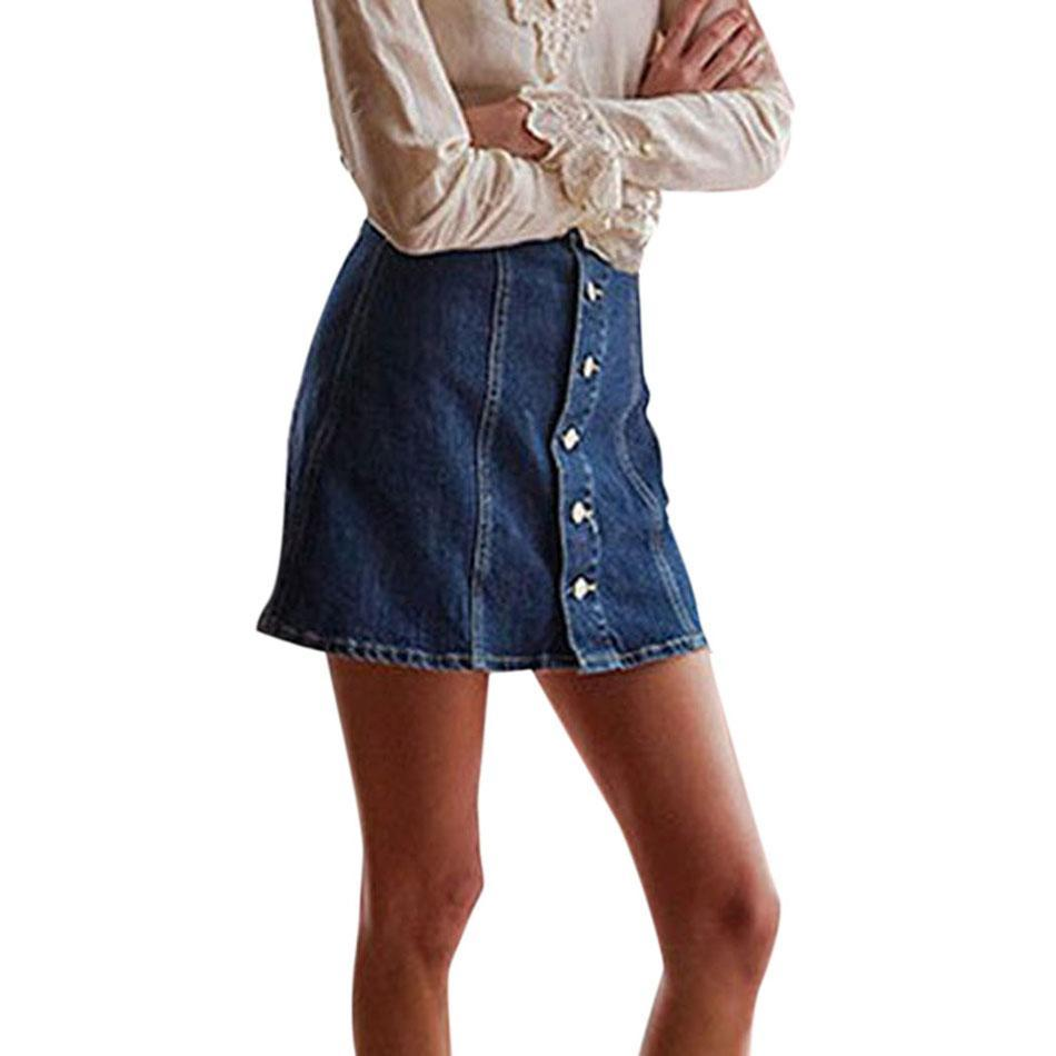 Clubwear Knee Skirt Button-Down Above Natural Waist Women Fashion High Solid A-Line Color Slim Denim Waisted Front Mini Casual