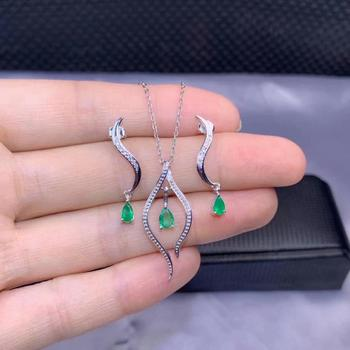 SHILOVEM 925 sterling silver Natural Emerald stud earrings pendants send necklace fine Jewelry wedding new gift dtz0405e0305agml