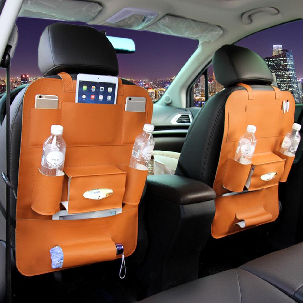 Vehemo искусственная кожа хранение сиденья автоматическое хранение многофункциональное автомобильное место для хранения уход универсальная защита - Название цвета: orange