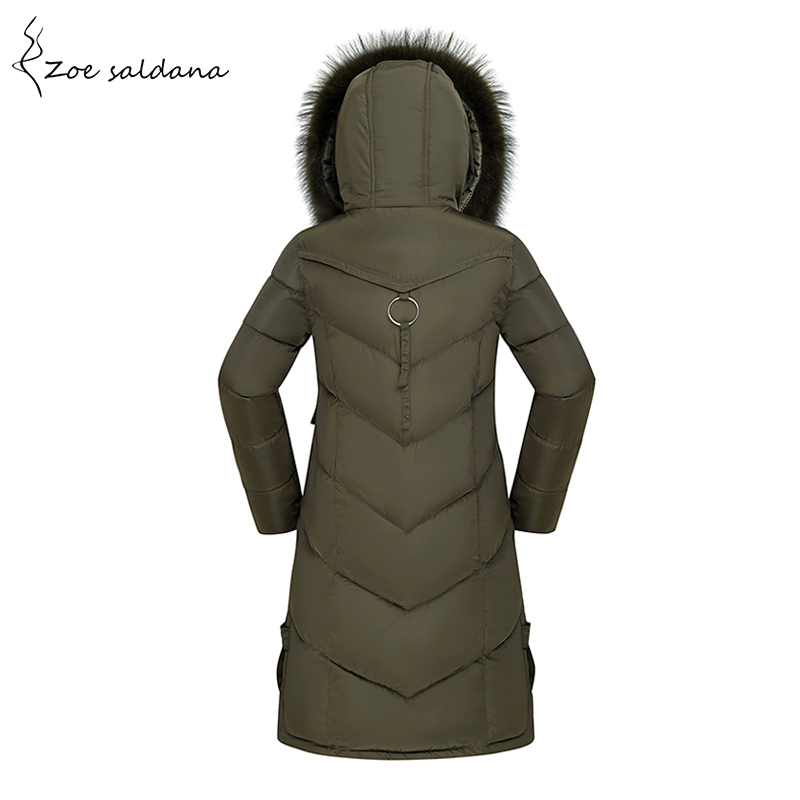 Zoe Saldana 2017 New Winter Coat Faux Fur Collar Hooded Parka Women Coats Warm Thick Long Jacket zoe saldana 2017 winter women coat long cotton jacket fur collar hooded letter print outerwear femme casual parka