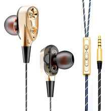 New Subwoofer 4 Horn Speaker 1.2m Wire Dynamic Circle In-ear Sports Earphones With Microphone Control Function For iPhone(China)