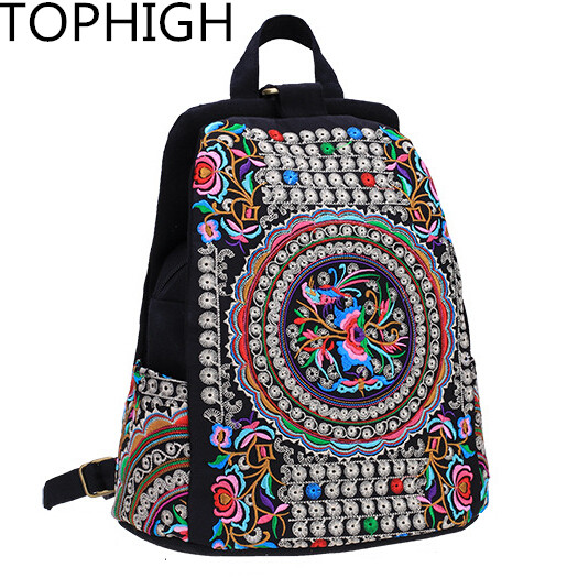 National Canvas Ethnic  Women Backpack Handmade Flower Embroidered Bag Travel Bags School Bag Backpacks Female Mochila B735