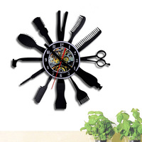 display wall clock home decoration art room bedroom clock Fashion barber shop black pointer