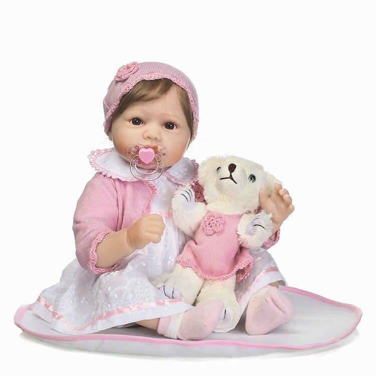 55 см мягкие силиконовые возрождается младенцев Куклы игрушка с медведем новорожденных принцесса для маленьких девочек куклы для детей Обу...
