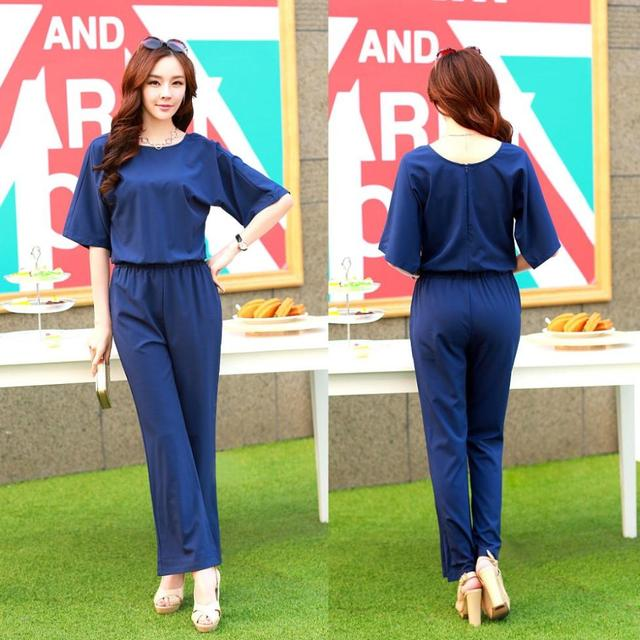 5287d4b5dbf Latest 2014 Summer Jumpsuits Women Rompers Fashion Navy Blue Wide Legs  Jumpsuits Back Zipper Full Length