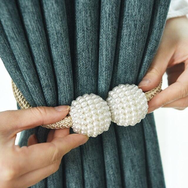1 Clip de cortina magnético de perlas soportes de cortinas, Clips de hebilla, hebilla de bola colgante, lazo, accesorios de cortina, decoración del hogar