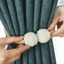 1x ไข่มุกแม่เหล็กคลิปม่านผ้าม่านผู้ถือ Tieback หัวเข็มขัดคลิปแขวนหัวเข็มขัดบอลผูกผ้าม่านอุปกรณ์ตกแต่งบ้าน