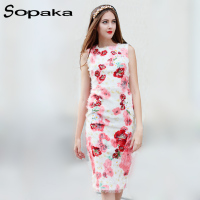 2017 Autumn Runway Designer White Floral Printing Sleeveless Sexy Women Midi Dress Knee-Length A-Line Sundress