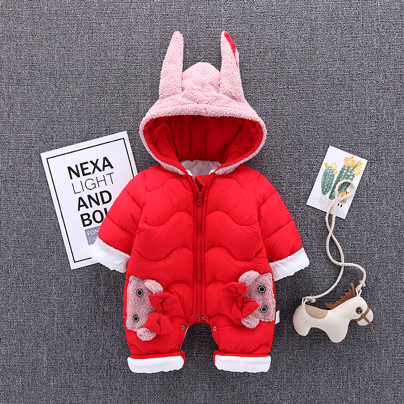 Winter Baby Girl Clothes Baby Rompers 2018 New Infant Rompers Newborn Jumpsuit Overalls Cartoon Thick Warm Baby Romper Clothing цена 2017