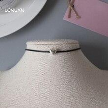 30 cm + 5 cm de plata de ley 925 cuello del amor del corazón de Corea Del collar de Gargantilla de cuello Collar de Cadena femenina de Alta calidad amantes de la joyería de regalo