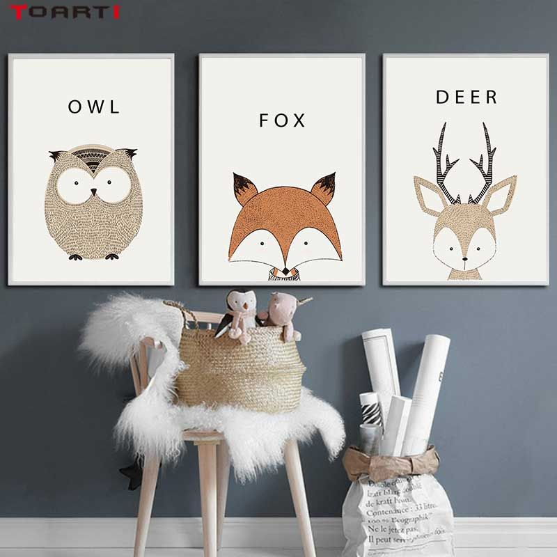 Image 2 - Kawaii Cartoon Animals Posters Prints Owl Fox Deer Canvas Painting For Kids Nursery Bedroom Modern Wall Art Pictures Home Decor-in Painting & Calligraphy from Home & Garden