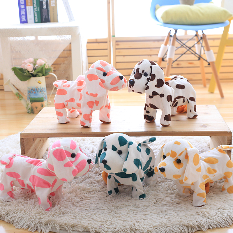 30cm Plush Walking Dog Toys Soft Stuffed Electric Singing Spotted Dog Plush Dolls with Sound 5 Color Kids Educational Gift
