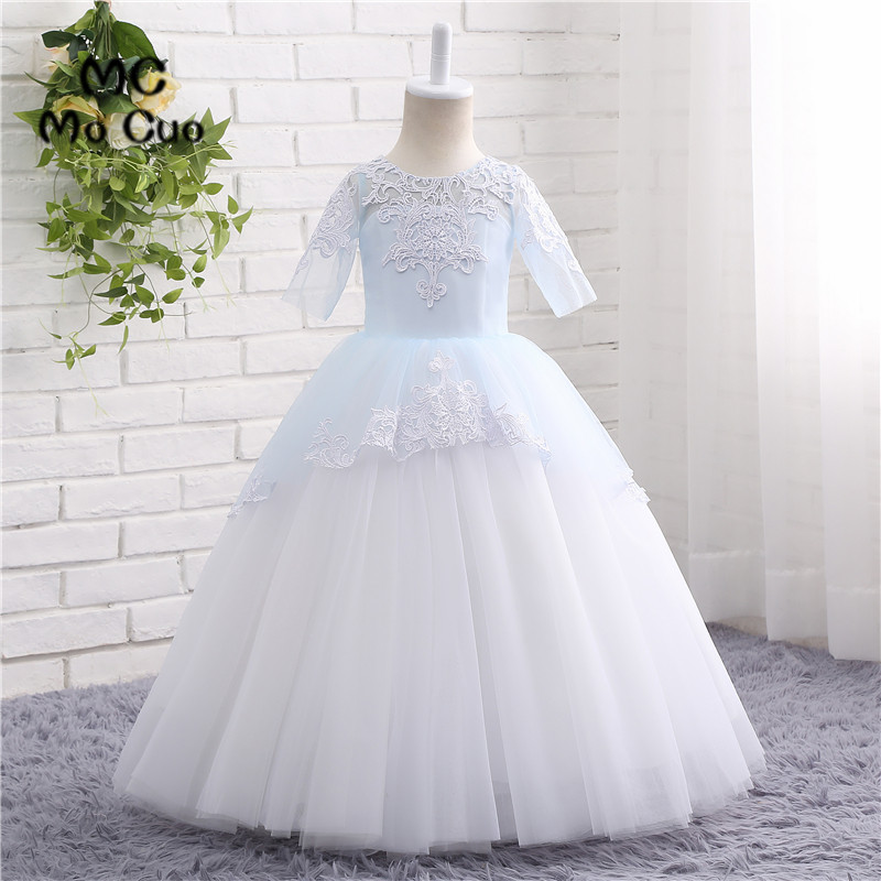 Puffy 2017 Lovely Ball Gown first communion   dresses   for   girls   kids evening gowns   flower     girl     dresses   for weddings