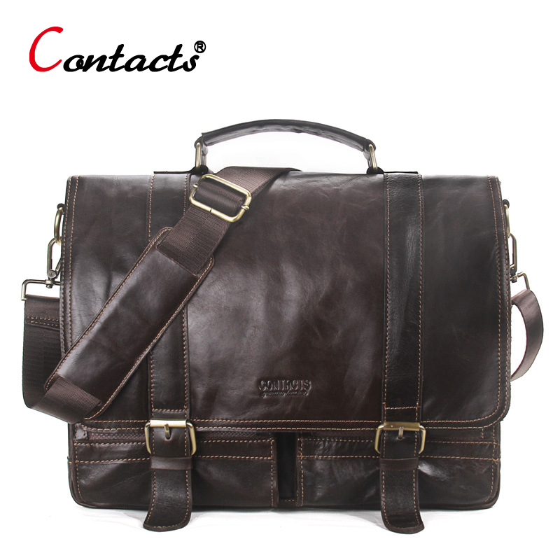 CONTACT'S Genuine Leather Men Messenger Bag Men Leather Handbag Men Shoulder Bag Large Male Briefcase Laptop Crossbody Bag Tote 100% genuine leather men bag brand designed men laptop briefcase business bag cow leather men handbag shoulder bag messenger bag