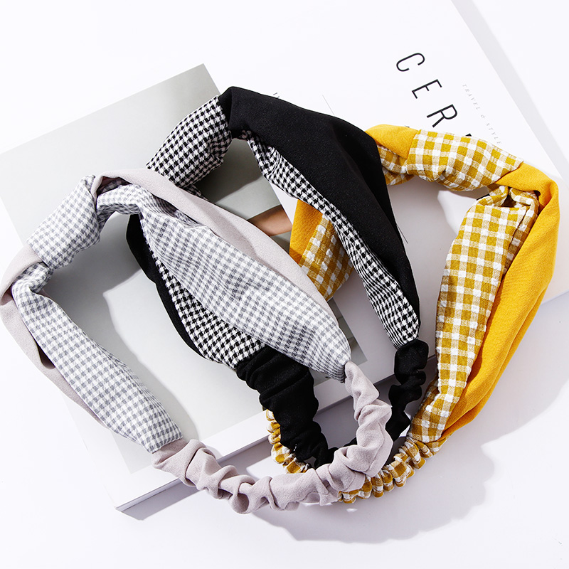 2018 New Women Elegant Plaid Patchwork Knot Headbands Hair Ornament   Headwear   Bandanas Hairbands Lady Fashion Hair Accessories