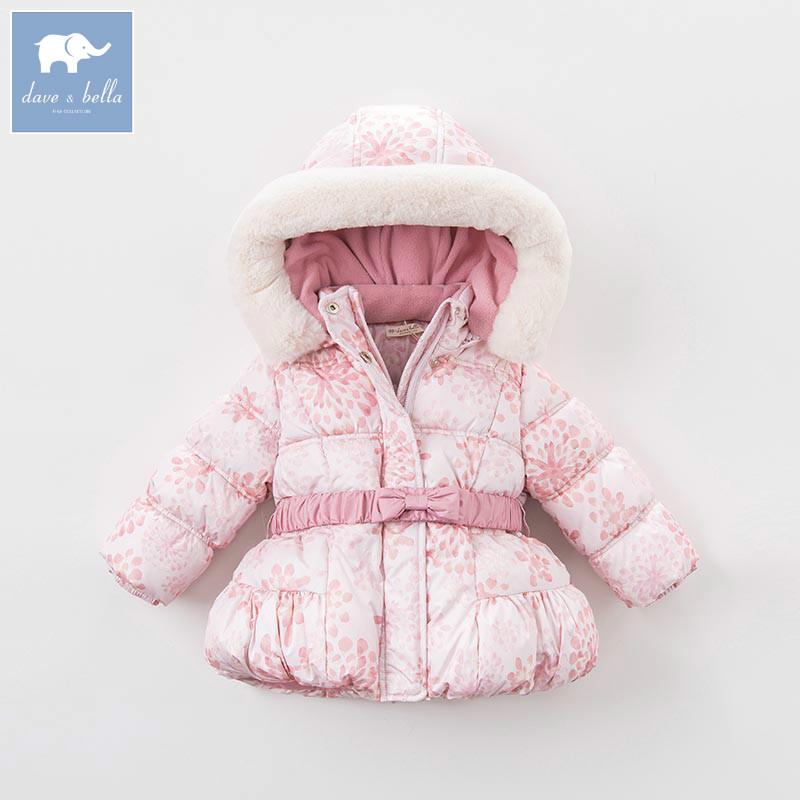 DB5636 dave bella winter infant baby girl fashion Jackets toddler girls Hooded outerwear children pink hight quality coat