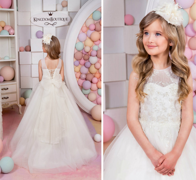 2017 Shiny Girls White Ivory Puffy First Communion Dress with Bow Sequins Pearls Princess Flower Girl Dress Cheap new white ivory flower girl dresses for wedding 3d flowers puffy tulle with big bow girls first communion gowns