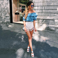 Hot New Fashion Women Clothing Blue Tops Sexy Strapless Stretch Leisure Loose T-Shirts