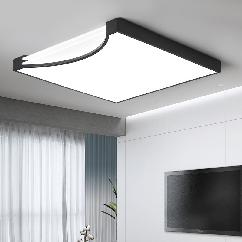 Square White/Black Modern Led high quality ceiling lights for living study bedroom Kids Room ultra-thin Hot ceiling lamp Fixture black or white rectangle living room bedroom modern led ceiling lights white color square rings study room ceiling lamp fixtures