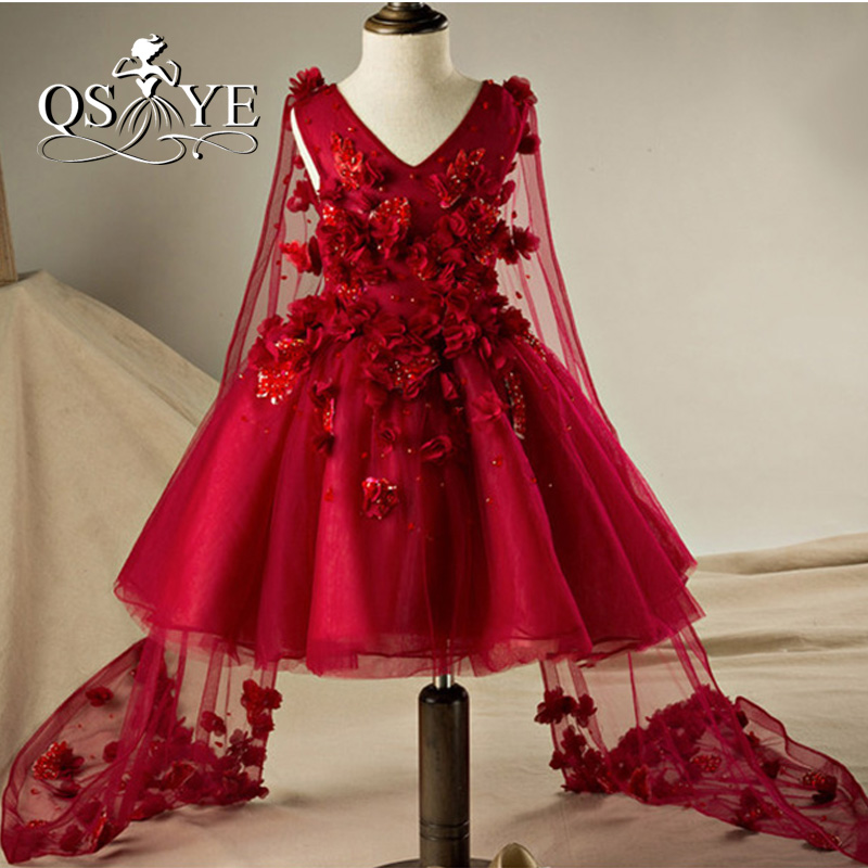 2017 Burgundy   Flower     Girl     Dresses   Ball Gown Princess With Lace   Flowers   Holy Communion   Dresses   with Tulle Cape Pageant Gown