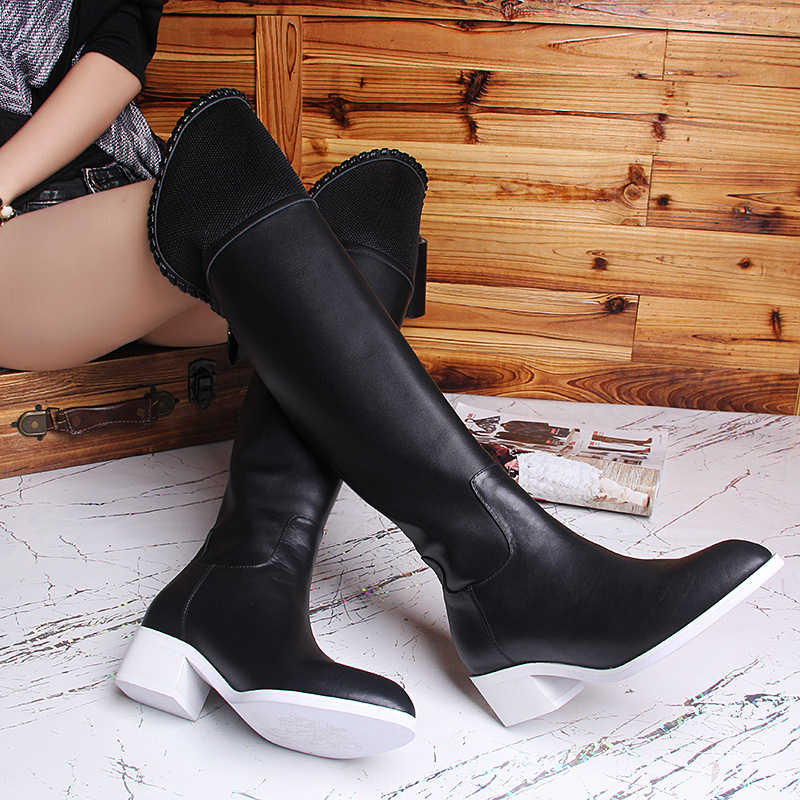 Women Autumn Winter Genuine Leather Back Zipper Thick Mid Heel Pointed Toe Fashion Over The Knee Boots Size 35-39 SXQ0818 women winter genuine leather low heel rivets pointed toe side zipper fashion over the knee boots plus size 33 43 sxq1013