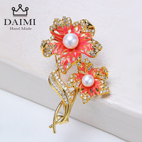 DAIMI New Design Vintage Brooch Jewelry Orange Flower Tree Brooches for Women Natural Pearls Brooch Scarves Buckle Accessories