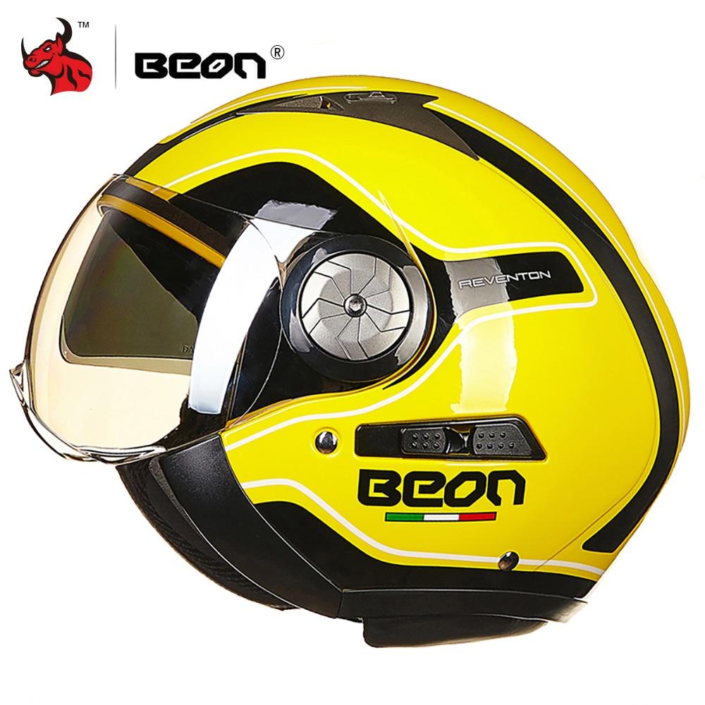 BEON Motorcycle Helmet 3/4 Open Face Motorbike Moto Casco Capacete Vintage Retro Biker Scooter Helmet Double Visor