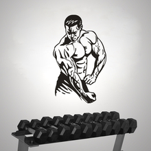 Bodybuilding Wall Sticker Gym Sports Decals Fitness Club Decoration Removable Bodybuilder Sport Man Vinyl Mural AY1389