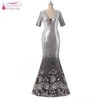 Sliver V Neck Mermaid Evening Dresses Long Fishtail Short Sleeves Sequins Dress Women vestido de festa In stock DQG107