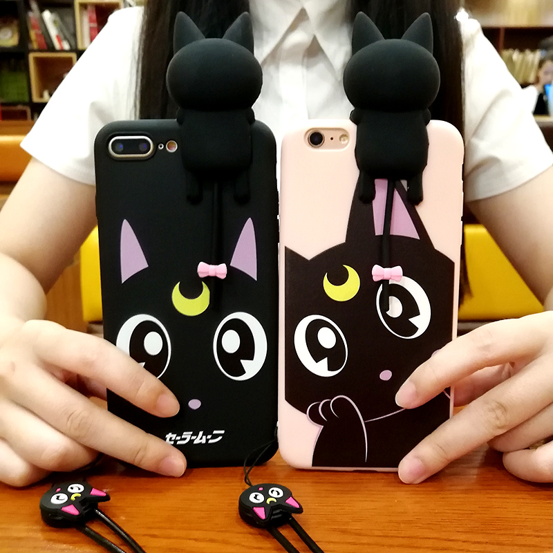 For iPhone 8 8plus Cute Cartoon Sailor Moon Lovely Luna Cat Back Case cover For iPhone X 7 7Plus 6 6S 6 Plus Soft Case +strap