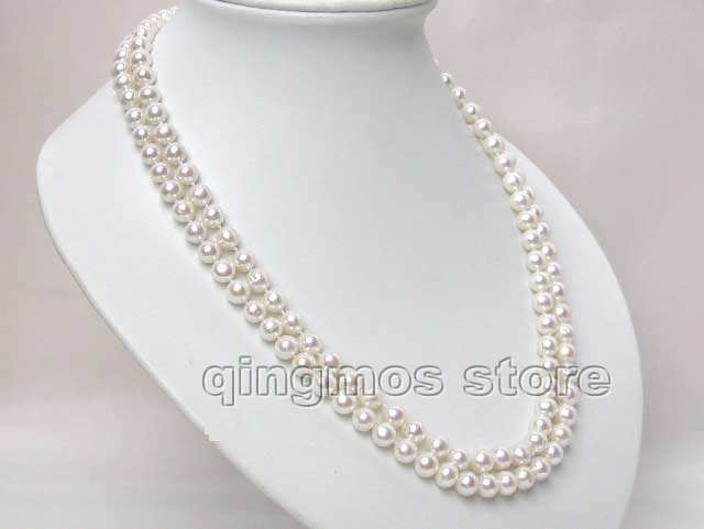 "Women Gift word Love women Fashion Jewelry SALE 6-7mm White High Quality AA Round Natural Freshwater PEARL 2 strands 17-18"" Neck"