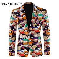 TIAN QIONG Mens Floral Blazer 2018 New Spring Autumn Flower Printed Blazer Men Slim Fit Stage