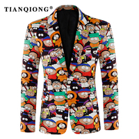 TIAN QIONG Mens Floral Blazer 2018 New Spring Autumn Flower Printed Blazer Men Slim Fit Stage