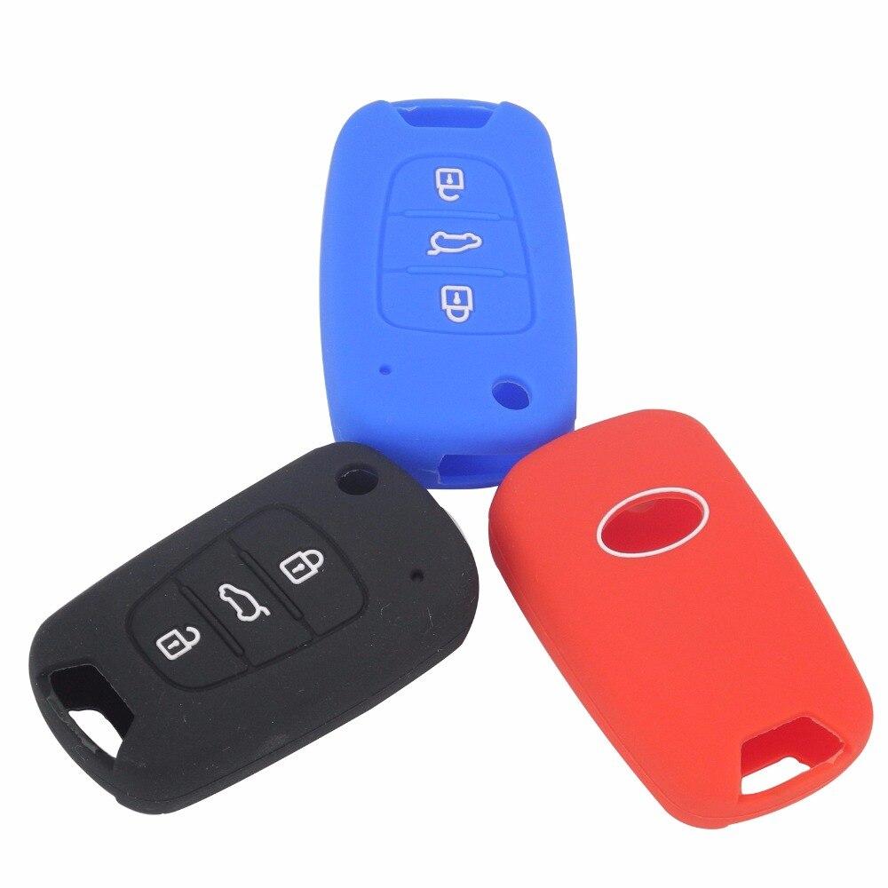 Silicone Car Key Cover fob Case For HYUNDAI i30 Verna Veloster for KIA K2 K5 Picanto Rio Sportage Protector Holder car partment 3 buttons silicone car key cover case for kia rio k2 k5 sportage sorento for hyundai i20 i30 i35 ix20 solaris verna
