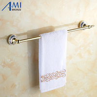 Golden Polish Porcelain Base Wall Mounted Bathroom Accessories Towel Bar Towel Rack With Hook Single Towel