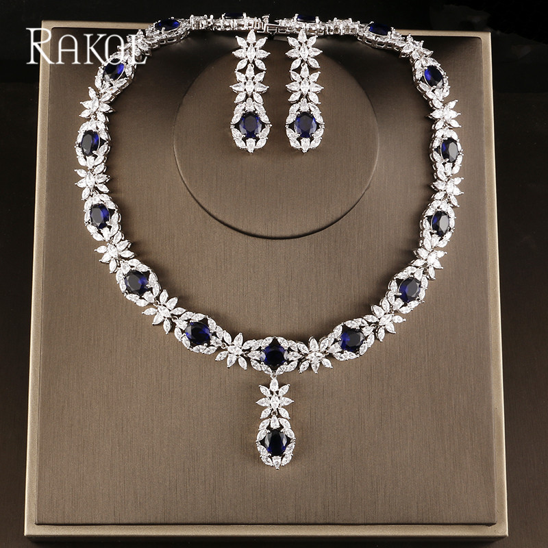 RAKOL Famous Brand Bbrilliant Crystal Zircon Earrings necklaces Bridal jewelry Set Women Wedding Dress Accessories rakol 2018 new wedding costume accessories heart shape cubic zircon crystal bridal earrings and rhinestone necklace jewelry set