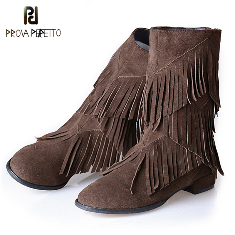 Prova Perfetto 2018 Euramerican Style Genuine Leather Woman Mid-Calf Boots with Tassels Low Heel Fashion Boots Martin Boots prova perfetto red color punk style genuine leather thick bottom woman mid boots solid round toe low heel rivet martin boots
