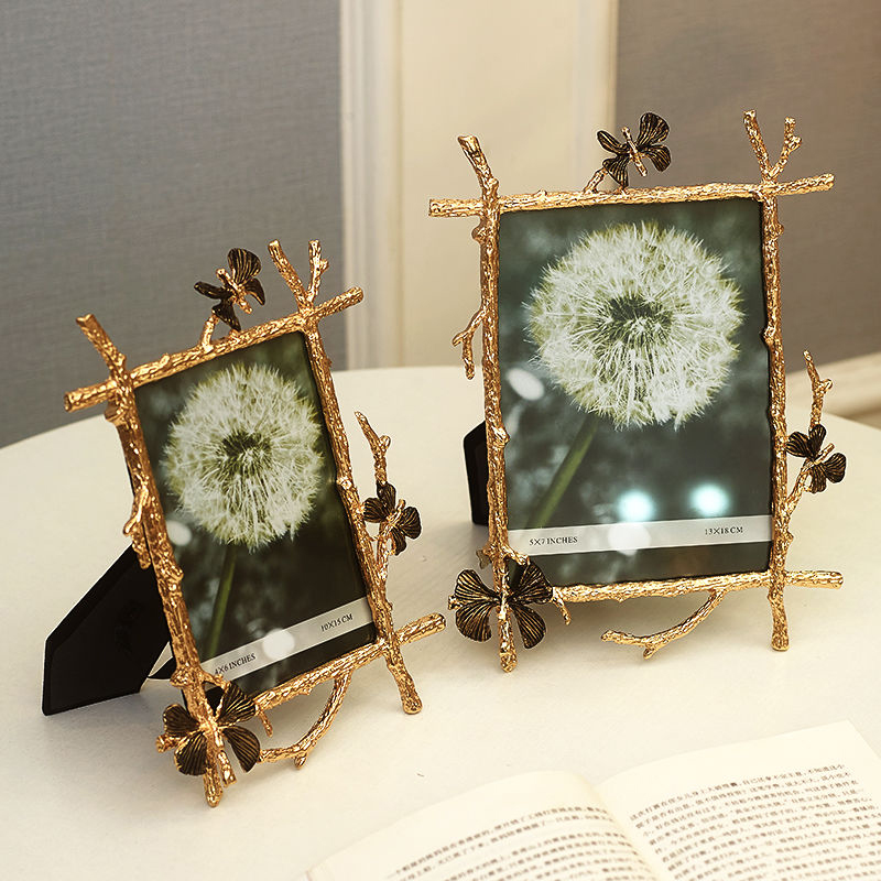 Europe Metal Alloy photo frame 6 inch 7 Golden butterfly picture table top Light luxury Home decoration