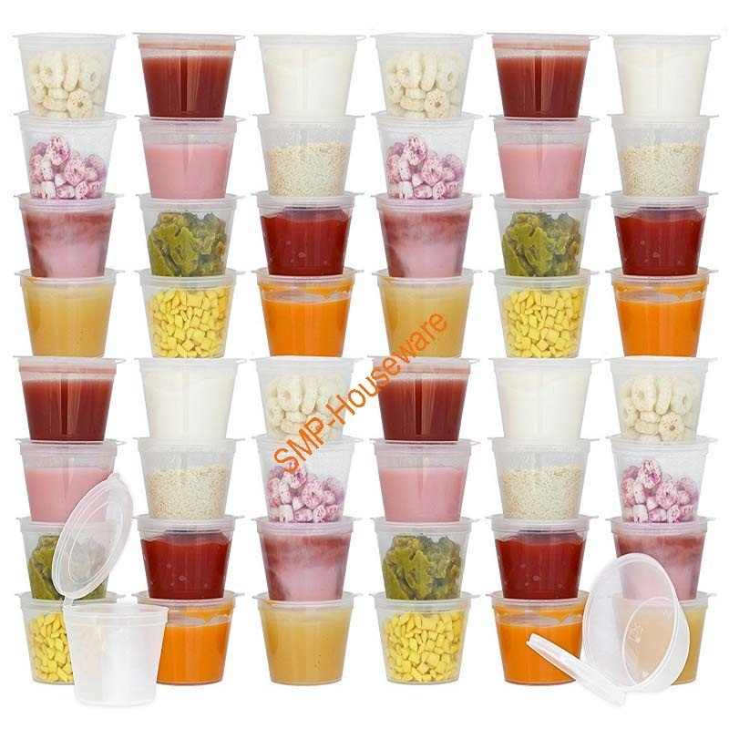 50Pcs Disposable BPA-Free Baby Food Storage Containers with Hinged Lids | Travel Snack Cups | Store Homemade, Organic Purees