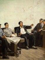 Toptan sanat yağlıboya-ÜST SANAT-ÇIN BÜYÜK ÖNDER MAO ZE DONG ve Generaller toplantı boyama #32