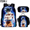 FORUDESIGNS/3 комплекта  детская школьная сумка с принтом Dragon Ball Goku Z Vegeta Super Saiyan  детский рюкзак  школьная сумка для подростков  школьников