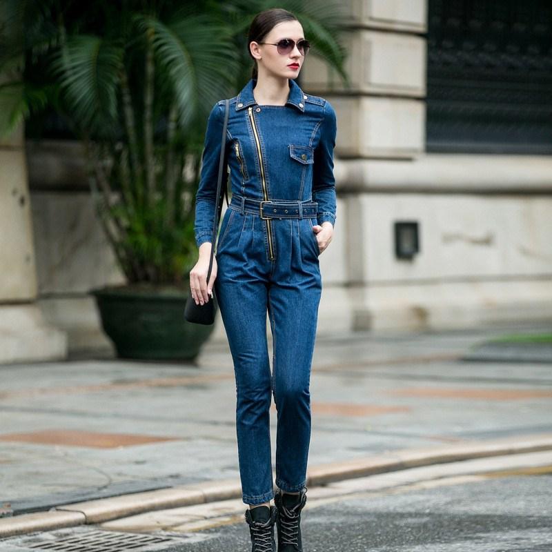 Women Casual Front Zipper Denim Jumpsuit Long Sleeve Denim Overalls Jumpsuit Female Turn down Collar Jeans