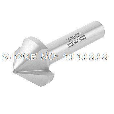 цена на HSS Chamfer End Mill Cutter Dia 30mm 90 Degree 3 Flutes Countersink Bit