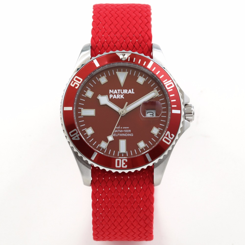 ФОТО Hand Made Nylon Strap Red Dial Enlarge Calendar Men Brand Luxury Quartz Casual Wristwatch NATURAL PARK relogio masculino