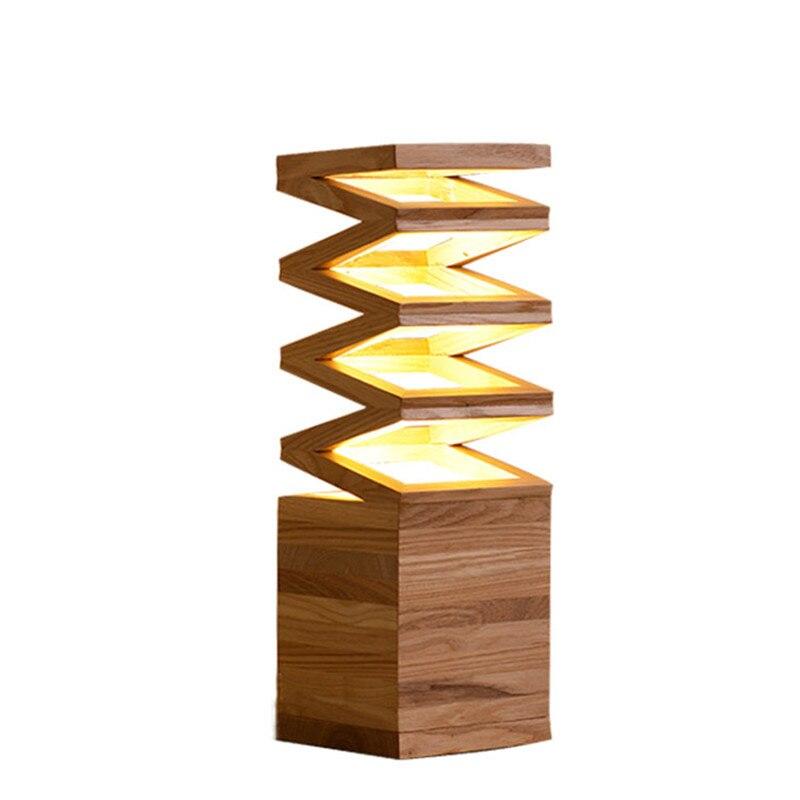 Nordic Bedroom Solid Wood Energy Saving LED Desk Lamp Wood Office Studio  Wood Decoration Table Lamp