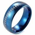 SHARDON 8 мм Синий Купол Из Карбида Вольфрама Бейсбол Стежка дизайн кольцо с белым стиле лазерного