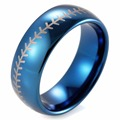 SHARDON 8mm Blue Dome Tungsten Carbide Baseball Stitch design ring with white style laser