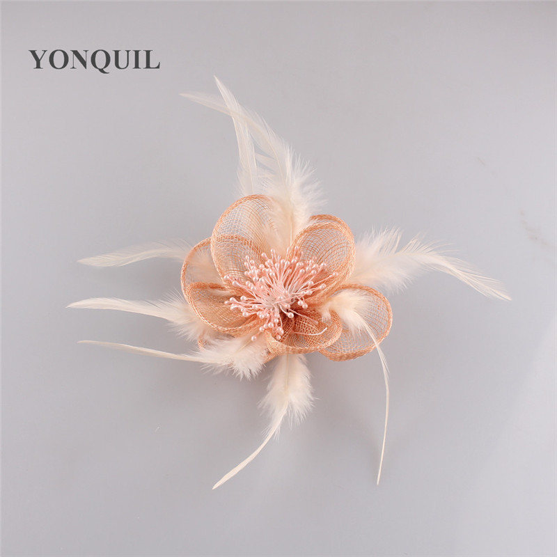Maravilloso color sinamay fascinator headwear pluma coloridos malla ...