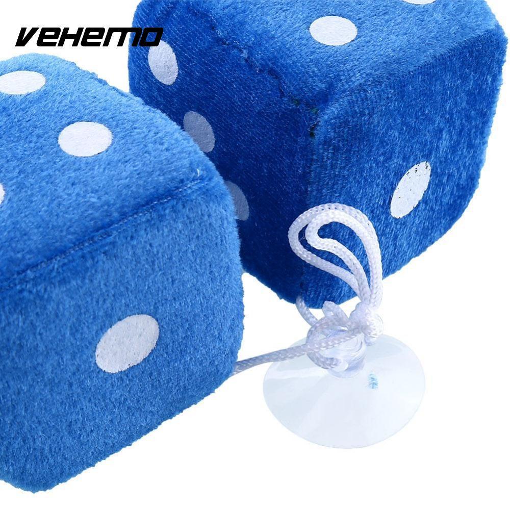 Vehemo, 2 шт., пара, синие пушистые плюшевые игральные кости, белые точки, задние зеркальные вешалки, винтажные автомобильные аксессуары, украшение автомобиля, Стайлинг автомобиля