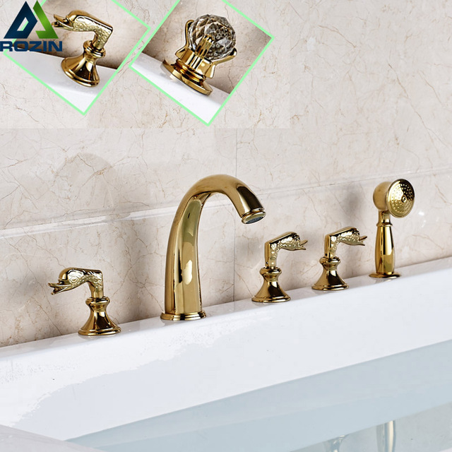 news bathroom tub sink faucet three handles with handheld shower head deck mounted golden bathtub